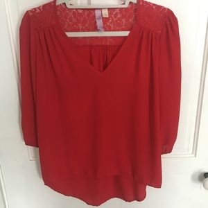 Red lace long sleeve blouse